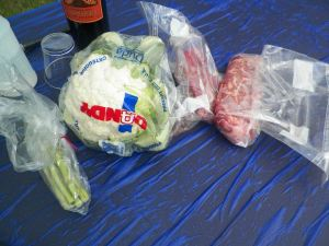 We had asparagus,a head of cauliflower, ribeye, and tri tip steak.